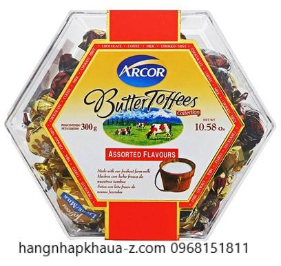 Kẹo Arcor Butter Toffees hộp lục giác 300g