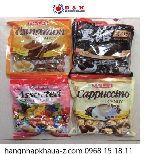 Kẹo Meland Quế, capuchino, hoa quả, đường đen 300g