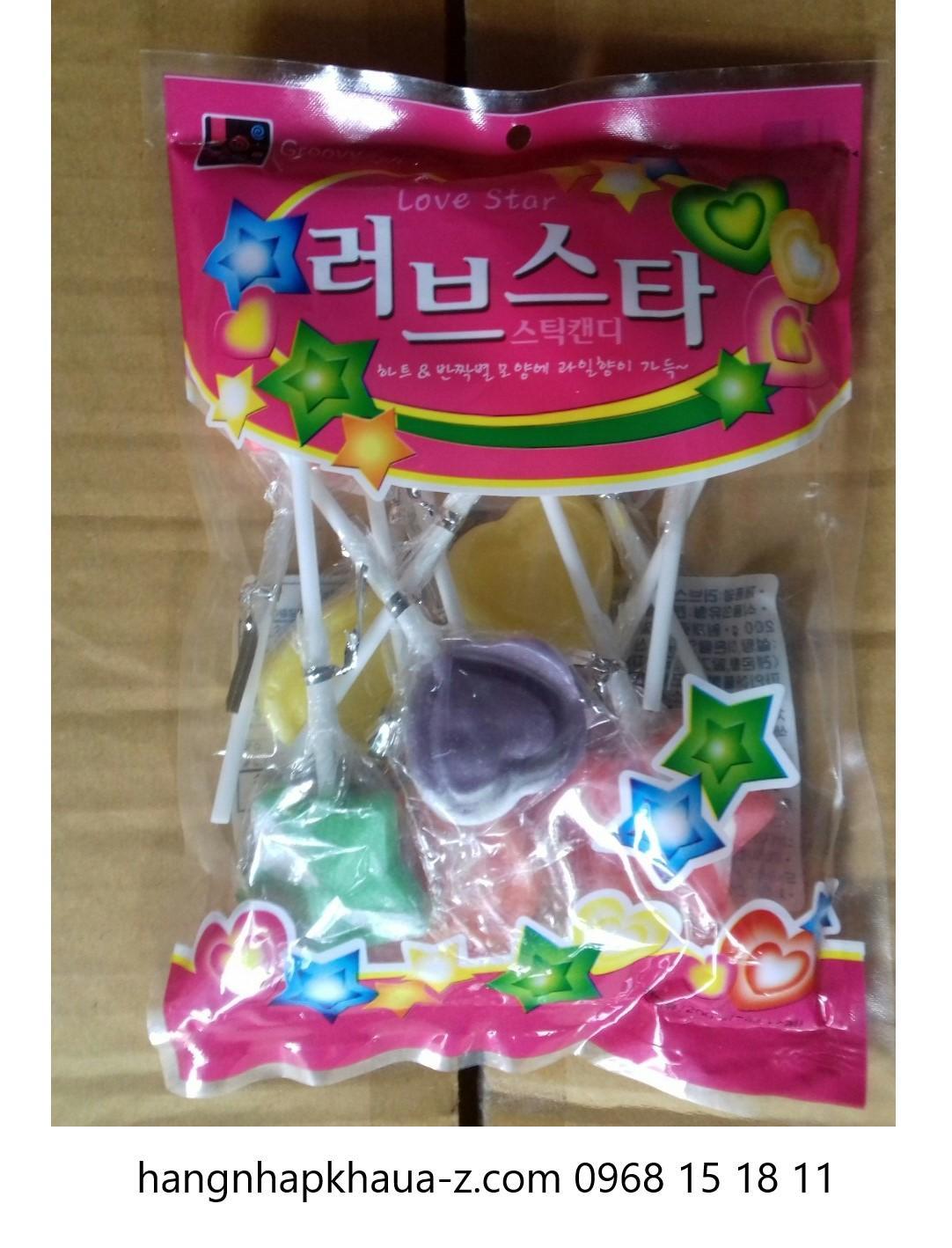 Kẹo mút Hàn Quốc Love Star 200g