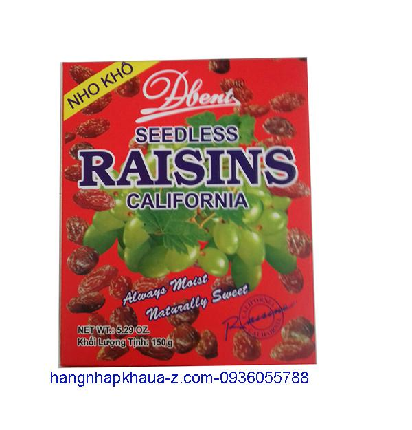 Nho khô Mỹ -Seedless Raisins California 150g